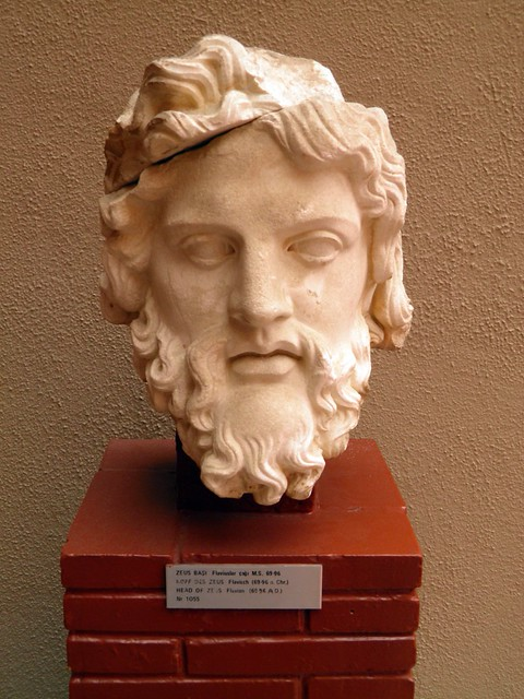 Head of Zeus (Flavian 69 - 96 AD) from the Fountain of Pollio, Ephesus Museum, Selçuk, Turkey