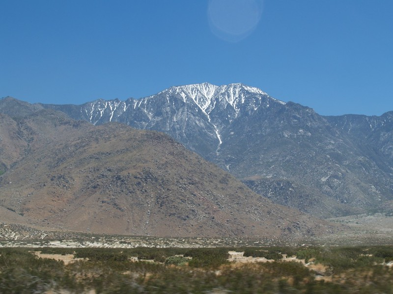 Plenty of snow on the north face of San Jacinto Peak from I-10