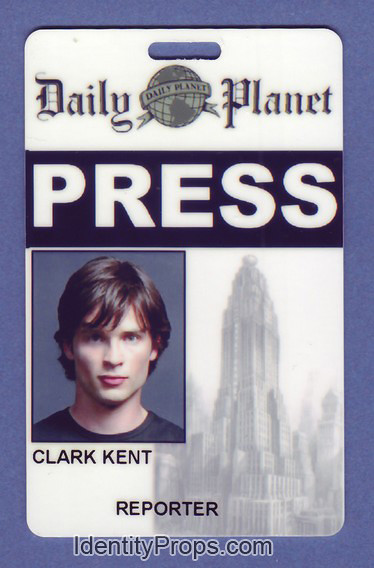 Smallville Superman daily planet press pass clark kent Id Card ...