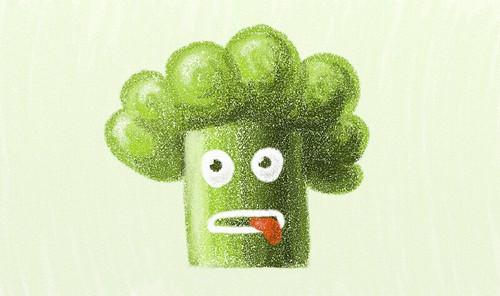 Ilustración: un brócoli estresado
