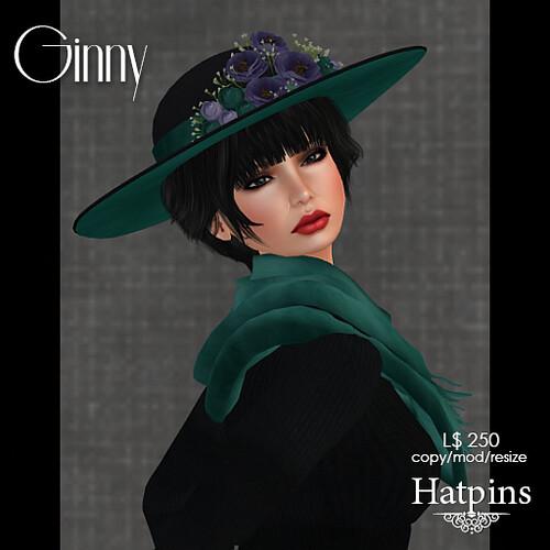 Hatpins - Ginny Hat - Violet Teal