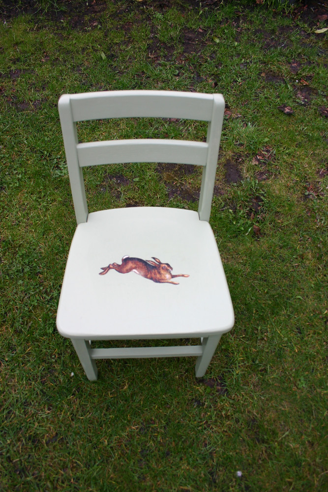 Childrens small upcycled nursery vintage chair in green with retro spring hare decouage design