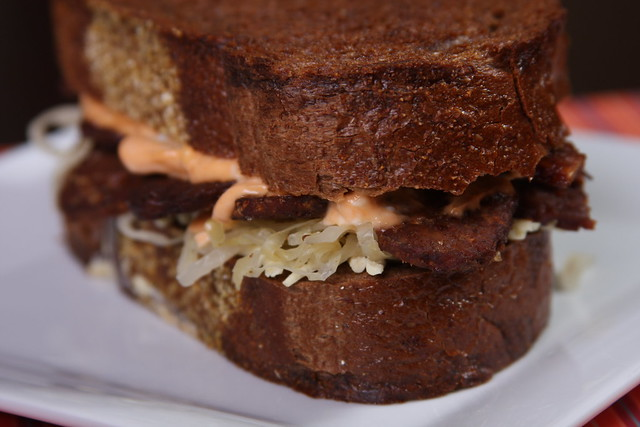Tempeh Reuben with Sriracha-Vegenaise Dressing