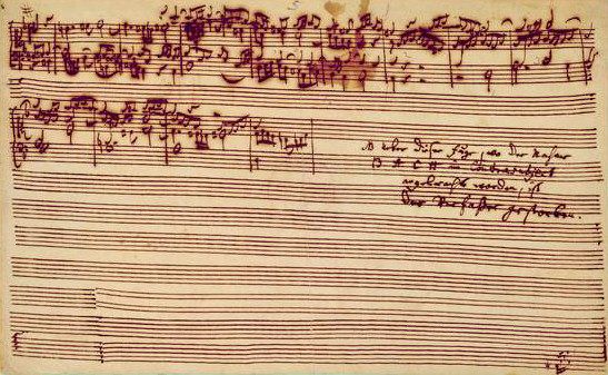 Last page of The Art of Fugue, 1740s (C18)