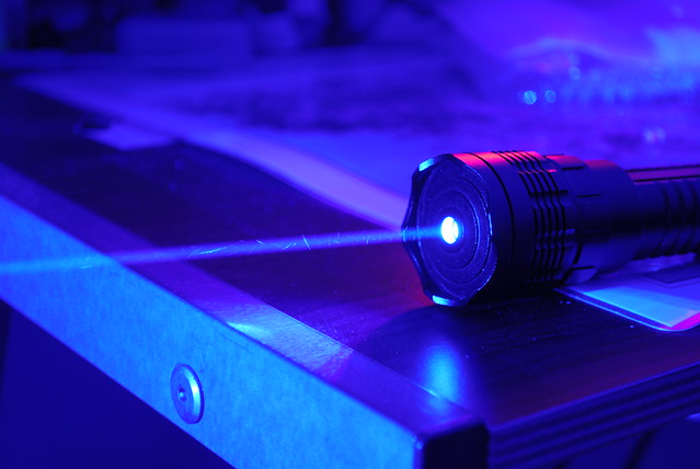 1.2W Class 4 Very High Power Blue Laser, Dark Background