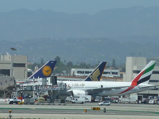 3 jets @ Tom Bradley International terminal at LAX