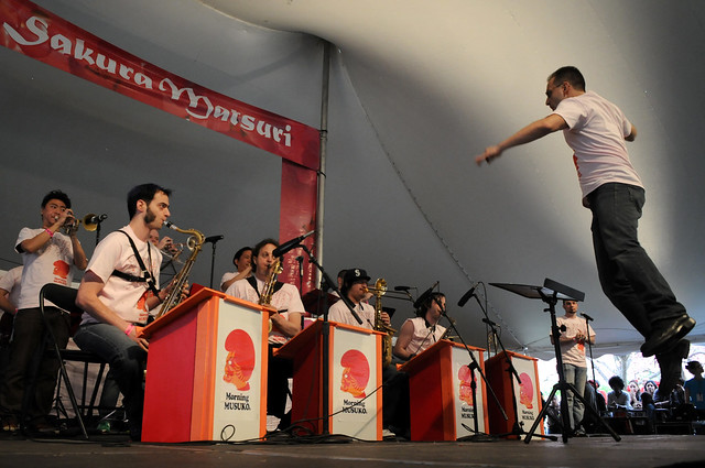 Morning Musuko, the world's only J-pop big band, brought brassy funk to the Cherry Esplanade Stage. Photo by Mike Ratliff.