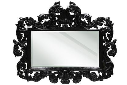 4119 HIGH GLOSS BLACK BAROQUE MIRROR