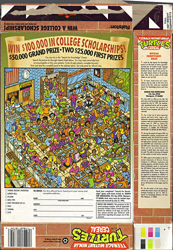 "Ralston ""TEENAGE MUTANT NINJA TURTLES"" CEREAL - '$100,000 in COLLEGE SCHOLARSHIPS!' ii (( 1991 )) by tOkKa"