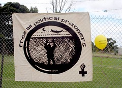 Free all Political prisoners banner - Refugee Children in Immigration Detention Protest Broadmeadows