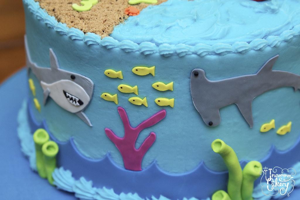 Beach Shark Themed Birthday Cake