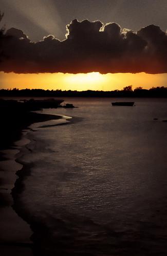 sun clouds evening seaside mauritius