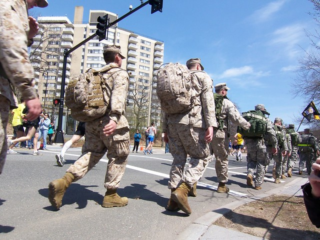 an rotc unit marching past