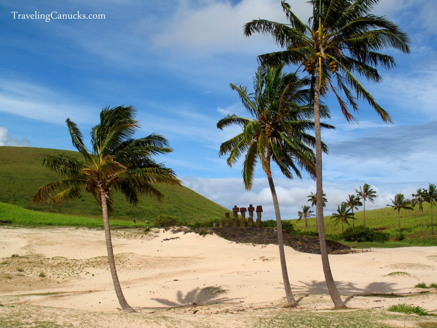 Easter Island Maoi Statues at Anakena Beach