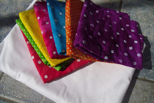 Spotty fabrics for Hippy Square