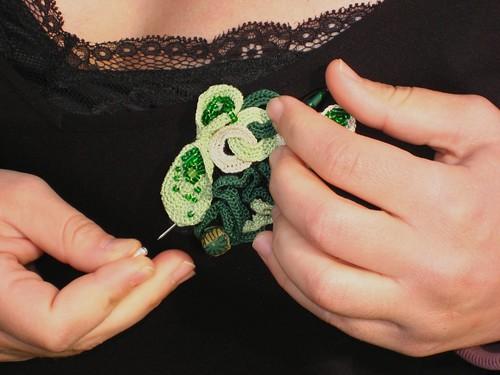 Freeform Green Brooch