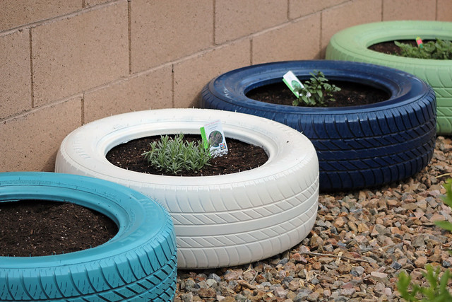 New planters for the garden flickr photo sharing - Painted tires for gardens ...