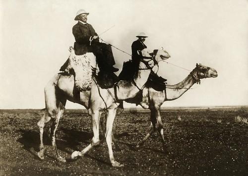 President Roosevelt op kameel /American President Roosevelt on a camel in the desert