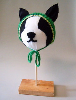 Felt Boston Terrier mannequin head
