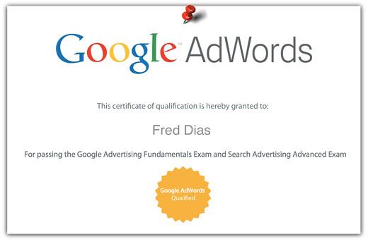 Certificado Renovado do Google Adwords para a 7 Pontos