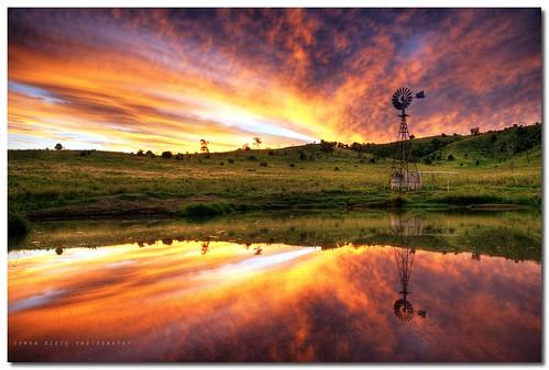 "trees sunset reflection water windmill rural landscape nikon farm australia reflexions hdr highdynamicrange rollinghills southeastqueensland nd8 5xp abigfave epicsunset d700 hdraddicted nikond700 ""nikonflickraward"" simondiete"