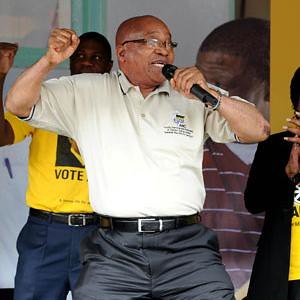 Republic of South Africa President Jacob Zuma, who is also the leader of the ruling-party, the African National Congress, sings at a party rally. The ANC is preparing for local government elections inside the country. by Pan-African News Wire File Photos