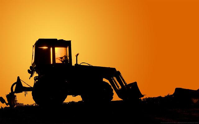 bulldozer sunrise desktop wallpaper flickr photo