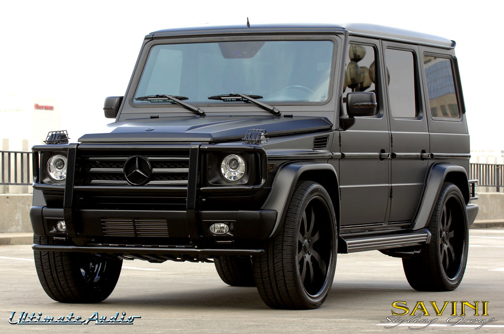 Matte black mercedes g wagon on savini sv 28s wheels for Mercedes benz g wagon black matte