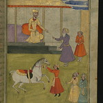 Illuminated Manuscript, Collection of poems (masnavi), A king gives a purse of gold to one of his servants to free a holy man from his debts to money lenders, Walters Art Museum Ms. W.626, fol. 59b