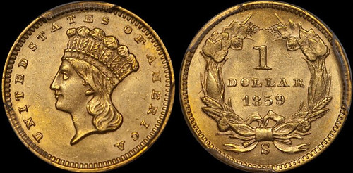 1859-S gold dollar