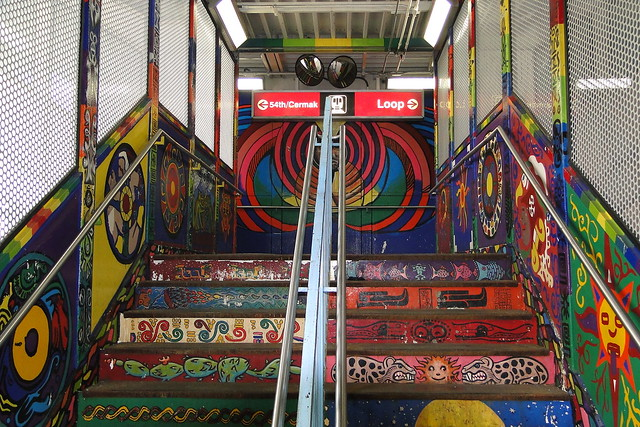 18th st l train entrance with murals pilsen for 18th street gang mural