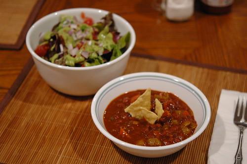 Mixed Green Salad and Easy Vegan Chili