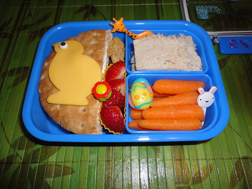 Whole wheat sandwich rounds(stacked) with cream cheese,chick cheese,baked turkey breast by hubby,carrots,strawberries.whole wheat bunnies,gummy egg 4-18 by Rina BentoSchoolLunches
