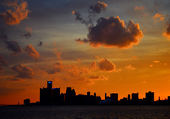Detroit Silhouette Sunset by Wade Bryant