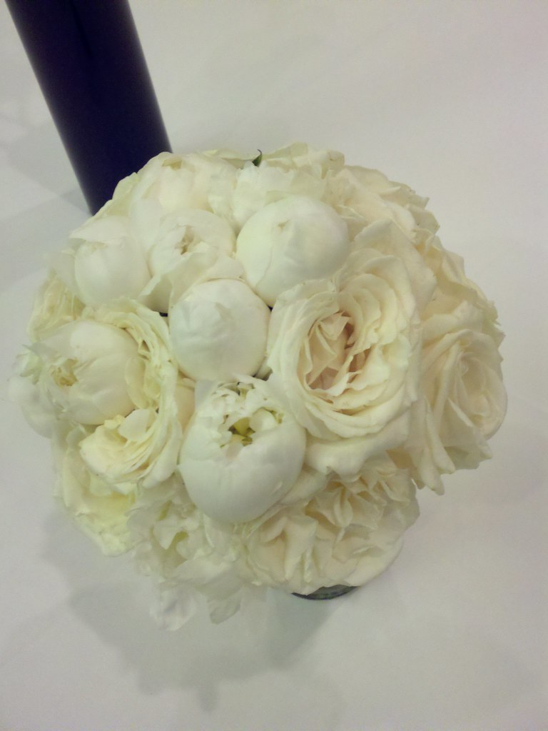 White peony and white garden rose bridal bouquet a photo on