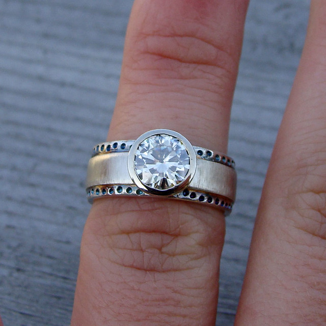 moissanite recycled 14k white gold and recycled