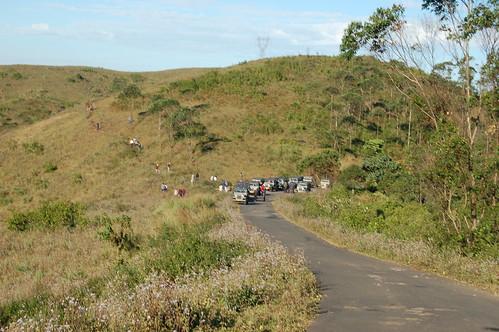 Eine ganze Karawane von Jeeps hält an einem Aussichtspunkt. Es sind ca. 10 Jeeps zu sehen.