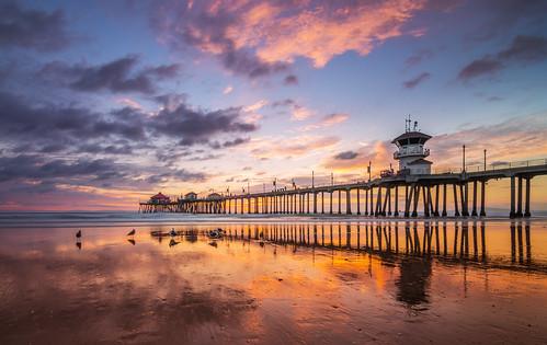 california sunset reflection clouds happy pier nikon dusk orangecounty huntingtonbeach hb d800 happymothersday hbpier meeyak pwpartlycloudy