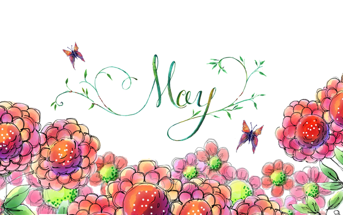 May 2014 Modern Calligraphy Floral