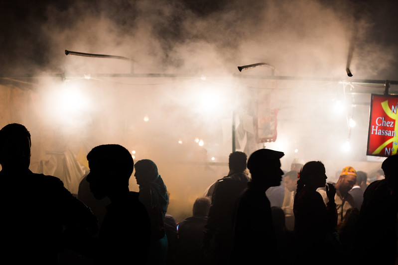 in the smoke of the cooking tents