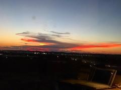 San Antonio #sunset through hotel window with #laptop#reflection.