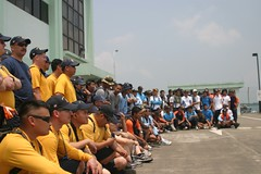 SINGAPORE (April 4, 2011) Sailors from the mine countermeasure ship USS Guardian (MCM 5) gather with participants from several other nations following a community service project at one of Singapore's waste management facilities for the program known as Project Eco-Frog. Guardian took part in the 4th Western Pacific Mine Countermeasures Exercise co-hosted by the Singapore and Indonesian navies. (Official U.S. Navy photo)