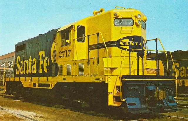 "ATSF0012 All dressed up in her new ""Yellow Bonnet"" Santa Fe 2650 class EMD Gp7 1500 hp locomotive. September 1972 (Santa Fe Railway color photo)"