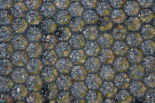 Hexagon pattern in car park