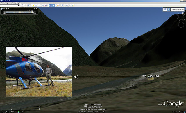 Siberia Valley helicopter landing - geotagged photo with Google Earth Background