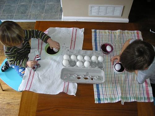 Easter egg dye made from blueberries