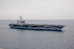 In this file photo, the Nimitz-class aircraft carrier USS Carl Vinson (CVN 70) conducts flight operations while underway in the Arabian Gulf April 4. Carl Vinson and Carrier Air Wing (CVW) 17 are conducting maritime security operations and close-air support missions in the U.S. 5th Fleet area of responsibility. (U.S. Navy photo by Mass Communication Specialist Seaman Timothy A. Hazel)