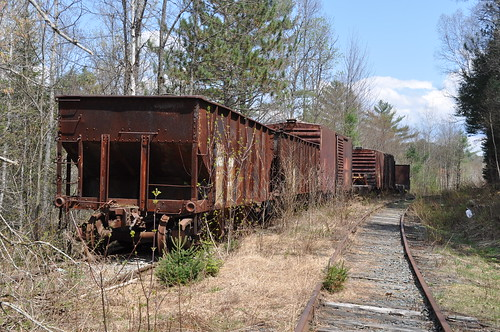 old railroad trees abandoned rural ties spring woods rust may newengland newhampshire rusty sunny nh bm rails remains useless unused whitefield abandonedrailroad freightcars bostonandmaine
