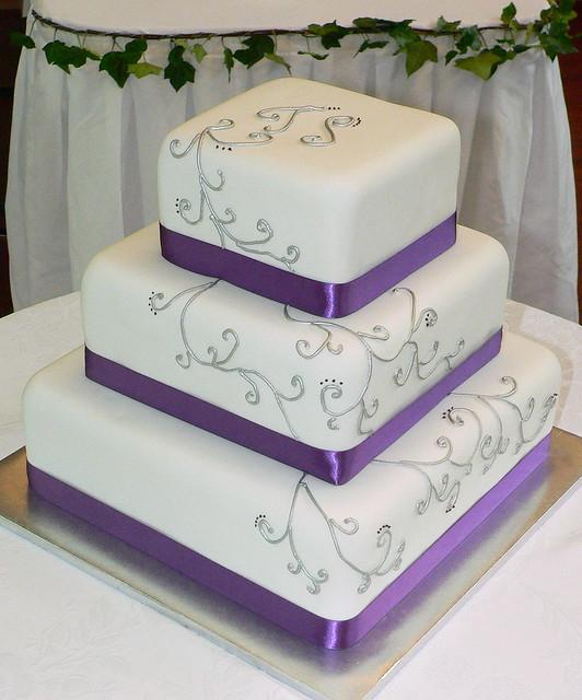 Purple And Silver Elegant Wedding Cake
