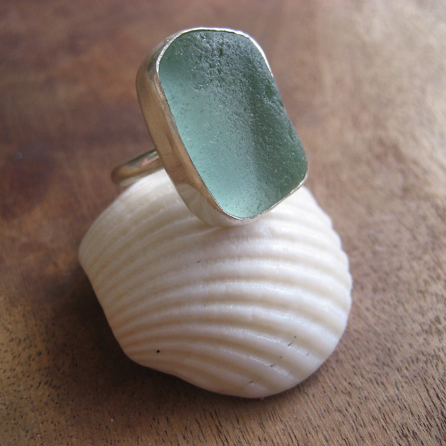 Custom-made Seafoam Green Seaglass Ring